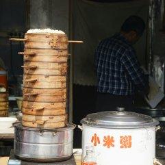 buns and congee pot